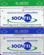 TELECARTES HOLOGRAPHIQUES REPUBLIQUE CENTRAFRICAINE  60/120/ Unités  SOCATEL(lot De 2)  ******6 - Centraal-Afrikaanse Republiek