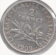 2 Francs Semeuse argent 1909  **** TTB ****