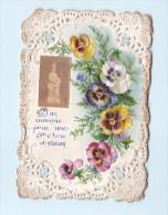 IMAGE RELIGIEUSE  DENTELLE FLEURS  SAINTE ANNE D'AURAY  SCANS RECTO VERSO - Devotion Images