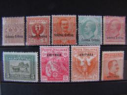 """(F)ITALIA Eritrea- """"Lotto"""" 9 Val. MH* (descrizione) - Eritrea"""