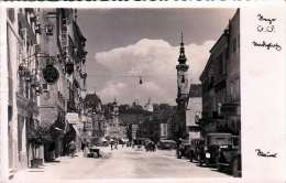 STEYR Stadtplatz - Belebte Strassenansicht Geschäfte Autos, Schöne Fotokarte Mit Details, Gel.1933 - Steyr