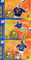 CARTES PREPAYEES INDONESIE  Rp 100.000  COUPE DU MONDE 1998 WORLD CUP 1998 T.Henry/L.Blanc/S.Guivarch (lot De 3) ******6 - Indonésie