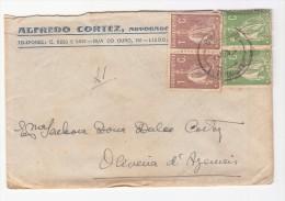 LETTRE PORTUGAL.1921.  CERES 2 COULEURS. 10C. 4 TIMBRES.  LISBOA - OLIVEIRA DE AZEMEIS/ 4418 - Marcophilie