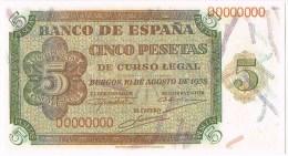 Billete España  5 Pts 1938. Plancha REPRO Numeros 0000000, Reproduccion Autorizada - [ 3] 1936-1975 : Régence De Franco