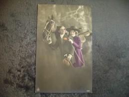 Cpa Couple Et Cheval 1921.Horse - Pferde