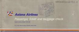 ASIANA AIRLINES (KOREA) PASSENGER TICKET AND BAGGAGE CHECK (KARACHI - BANGKOK - SEOUL - LOS ANGELES - SEOUL)