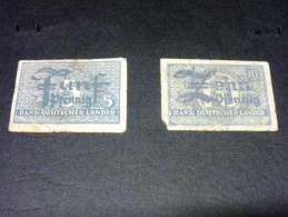ALLEMAGNE 5 Et 10 Pfennig 1948, Pick N° 11 Et 12 , GERMANY BANK DEUTSCHER LANDER - [ 7] 1949-… : FRG - Fed. Rep. Of Germany