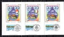 """1998 : 3 Cartes Maximum En Soie """" ACCORD RAMOGE """"  N° YT 3003 + ITALIE 2167 + MONACO 2038. Parf état. CM - Emissions Communes"""