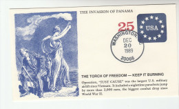 20 Dec 1989 INVASION Of PANAMA COVER Largest MILITARY AIRLIFT Since Vietnam Postal Stationery Usa Stamps Aviation Event - Militaria