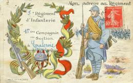 Militaria Militaire Carte Correspondance 5 ème Régiment Infanterie Courbevoie Illustré Soldat écrit Parle De Vimoutiers - Reggimenti