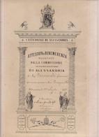 ATTESTATO DI BENEMERENZA PER RESTAURO CATTEDRALE DI ALESSANDRIA DEL 1879 - - Documenti Storici
