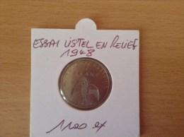 Pièce De 1 Franc ESSAI Listel En Relief De Nouvelle Calédonie Année 1948 !! - Nouvelle-Calédonie