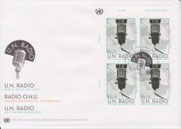 United Nations FDC Mi 764 - World Radio Day - Microphone - Cancellation Vienna - Block Of 4 - 2013 - FDC