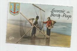 Cp , 62 , SOUVENIR DE BERCK - PLAGE , Blason , Pêcheurs , Vierge , Ed : Gaby/Artaud - Berck
