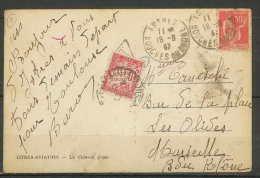 LETTRE-1797-Bouches Du Rhone- Carte Postale Taxée Istres Chateau D 'eau Pour Marseille 18/8/1937 - Lettere Tassate