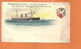 """Paquebot - AmericanLine US Mail Steamer -Southampton-Cherbourg- New-York Service -SS""""St Paul"""" (dimensions14x8.2) - Steamers"""