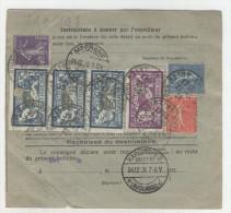 Frankreich Michel No. 100 , 181 auf Paketkarte
