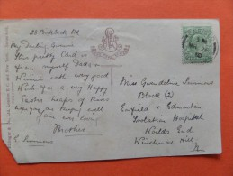 45518 Detached Back Sheet Only Of A Postcard:  POSTMARK Enfield. 26/03/1910. King Edward VI One Penny Stamp. - London Suburbs