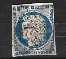 """YT 4 """" Cérès 25c. Bleu """" 1850 PC 1277 FISMES - 1849-1850 Ceres"""