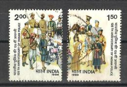 India, 1986, Indian Police Force, 125th Anniversary, Indian Police, Motorbike,  Set 2 V,  FINE USED - Usados
