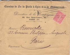 CHEMINS DE FER DE PARIS A LYON ET A LA MEDITERRANEE  DIRECTION DE LA COMPAGNIE - Marcophilie (Timbres Détachés)