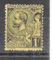 MONACO, 1891, Yvert N° 20, Prince Albert 1 Er, 1 F Noir Sur Jaune Neuf  (*) TB!!!!! - Neufs