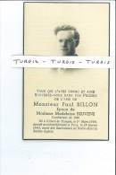 PAUL BILLON EPOUX M BEUVENS COMBATTANT GUERRE 40 VILLERS LE TEMPLE 1909 YVOZ 1941 IMP BARE LIEGE - Images Religieuses