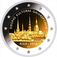 """LETONIA   2€ Bimetálica    2.014  2014   SC/UNC   """"RIGA,Capital Europea De La Cultura""""   T-DL-11.303 - Letonia"""