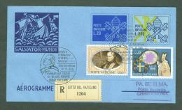 VATICAN VATICANO 1991 AEROGRAMME REGISTERED POPE JOHN PAUL II Travel To CZESTOCHO POLAND (WITH NEWSPAPER OF EVENT) (3037 - Vatican