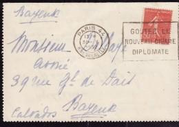 FRANCE  1924  -  Y&T  199 -  Semeuse  Sur Lettre - Cachet De Bayeux - 1903-60 Semeuse Lignée