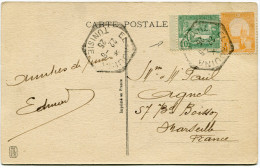 TUNISIE CARTE POSTALE AVEC AFFRANCHISSEMENT DONT N°76 ISSU DE CARNET DEPART EL-AOUINA 22-6-25 POUR LA FRANCE - Storia Postale