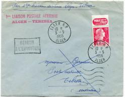 ALGERIE LETTRE AFFRANCHIE AVEC TIMBRE AVEC BANDE PUBLICITE AVEC GRIFFE 1ère LIAISON POSTALE AERIENNE ALGER-TEBESSA...... - Algeria (1924-1962)