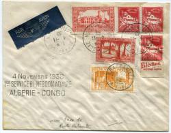 ALGERIE LETTRE PAR AVION AVEC GRIFFE 4 NOVEMBRE 1938 1er SERVICE BI-HEBDOMADAIRE ALGERIE-CONGO AVEC TAXE DE POSTE....... - Algeria (1924-1962)
