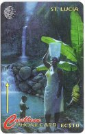 St. Lucia - Woman And Child At Waterfall - 21CSLA - 1995, 30.000ex, Used - Santa Lucía