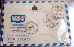SAN MARINO  - 1985 INTERNAT. EXIBIT OLIMPICS PHILATELIE AEROGRAMME  FDC - Giochi Olimpici