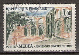 Timbre France Y&T N°1318a (05) Obl. Médéa (variété : Monument Vert Olive). 1.00 F. Dallay 20,00 € - Abarten Und Kuriositäten