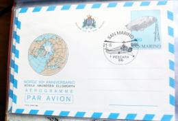 SAN MARINO  - 1986 NORGE, NOBILE, AMUNDSEN, ELLSWORTH, ANNIVERSARY  AEROGRAMME MNH** - Polar Flights