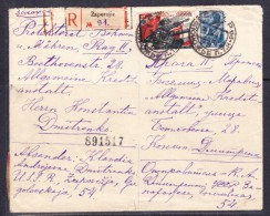 E-USSR-1-07 R-LETTER FROM ZAPOROJIE TO PRAHA WITH COMMEMORATIVE STAMP. GERMAN CENZURA.
