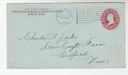 1909 BOSTON & MAINE RAILWAY Usa COVER Boston FLAG Cancel Pmk POSTAL STATIONERY To Bedford Mass United States Train - Entiers Postaux