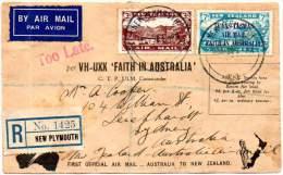 NEW ZEALAND 1934. First Flight New Zealand - Australia By FAITH IN AUSTRALIA - Airmail