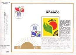 Feuillet CEF Sur Soie N° 474 S - U.N.E.S.C.O. - Timbres De Service 56-57 (Yvert) - 1970-1979