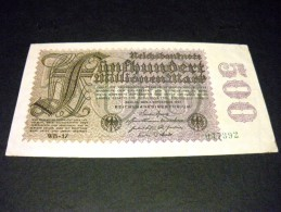ALLEMAGNE 500 Millions/ 500 Millionen Mark 01/09/1923,pick N° 110 E ,GERMANY Weimar Republic Inflation - [ 3] 1918-1933 : Weimar Republic