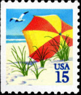 1990 USA Beach Umbrella Booklet Stamp Sc#2443 Post Seagull Bird - Climate & Meteorology