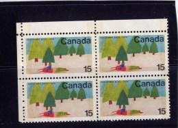 CANADA 1970, # 530, CHRISTMAS: SNOWMOBILE & TREE, UL BLOCK Auto-neige Et Arbre  Sapin..NO GUM.. - 1952-.... Règne D'Elizabeth II
