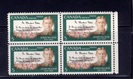 CANADA 1968, # 487, JOHN McCREA: POEM,  BLOCK Of 4  MNH - Blocchi & Foglietti