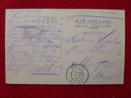 CACHET MILITAIRE HOPITAL TEMPORAIRE PLACE FORTE DE LYON 1914 - Marcophilie (Lettres)