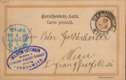Austria/Romania -Postal Stationery Postcard Circulated In1898 From Czernowitz (Cernauti) At Vienna  - 2/scans - Storia Postale