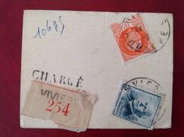 Recommandé Chargé Pétain Bersier Mazelin N° 518 521 524 VIVIERS 106gr + LYON Terreaux - Guerre De 1939-45