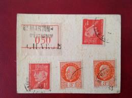 Recommandé Chargé Bersier Hourriez Mazelin N° 521 524 514 St SAINT MARTIN D´ESTREAUX + LYON Terreaux - Guerre De 1939-45