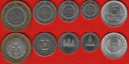 Cambodia Set Of 5 Coins: 5 Sen - 500 Riels 1979-1994 UNC - Camboya